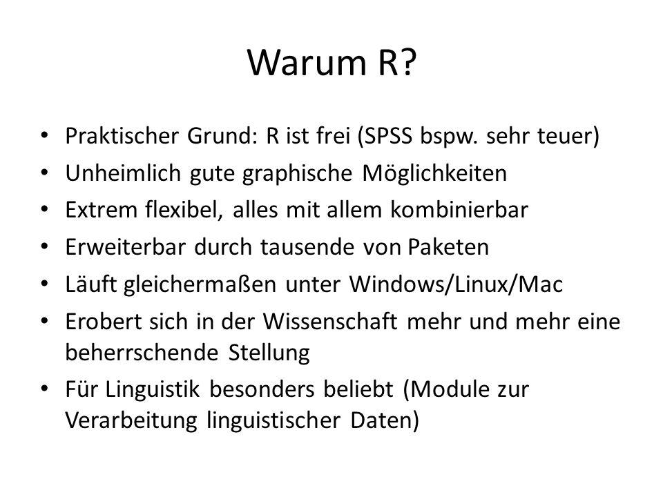 Warum R? Praktischer Grund: R ist frei (SPSS bspw. sehr teuer) Unheimlich gute graphische Möglichkeiten Extrem flexibel, alles mit allem kombinierbar