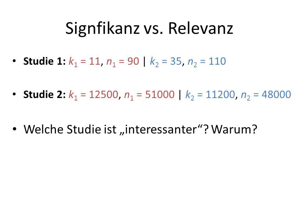 Signfikanz vs. Relevanz Studie 1: k 1 = 11, n 1 = 90 | k 2 = 35, n 2 = 110 Studie 2: k 1 = 12500, n 1 = 51000 | k 2 = 11200, n 2 = 48000 Welche Studie