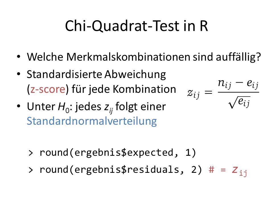 Chi-Quadrat-Test in R Welche Merkmalskombinationen sind auffällig? Standardisierte Abweichung (z-score) für jede Kombination Unter H 0 : jedes z ij fo