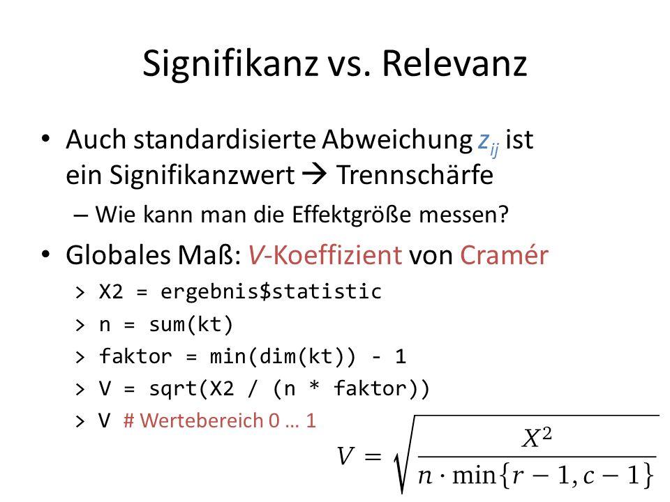 Signifikanz vs. Relevanz Auch standardisierte Abweichung z ij ist ein Signifikanzwert Trennschärfe – Wie kann man die Effektgröße messen? Globales Maß