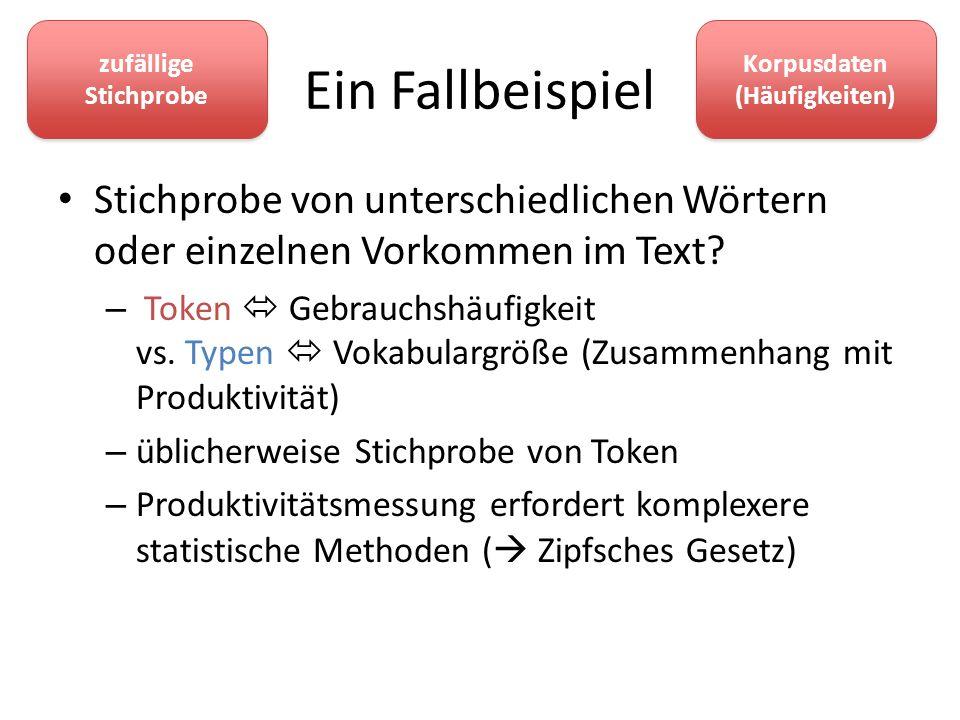 Ein Fallbeispiel Stichprobe von unterschiedlichen Wörtern oder einzelnen Vorkommen im Text? – Token Gebrauchshäufigkeit vs. Typen Vokabulargröße (Zusa