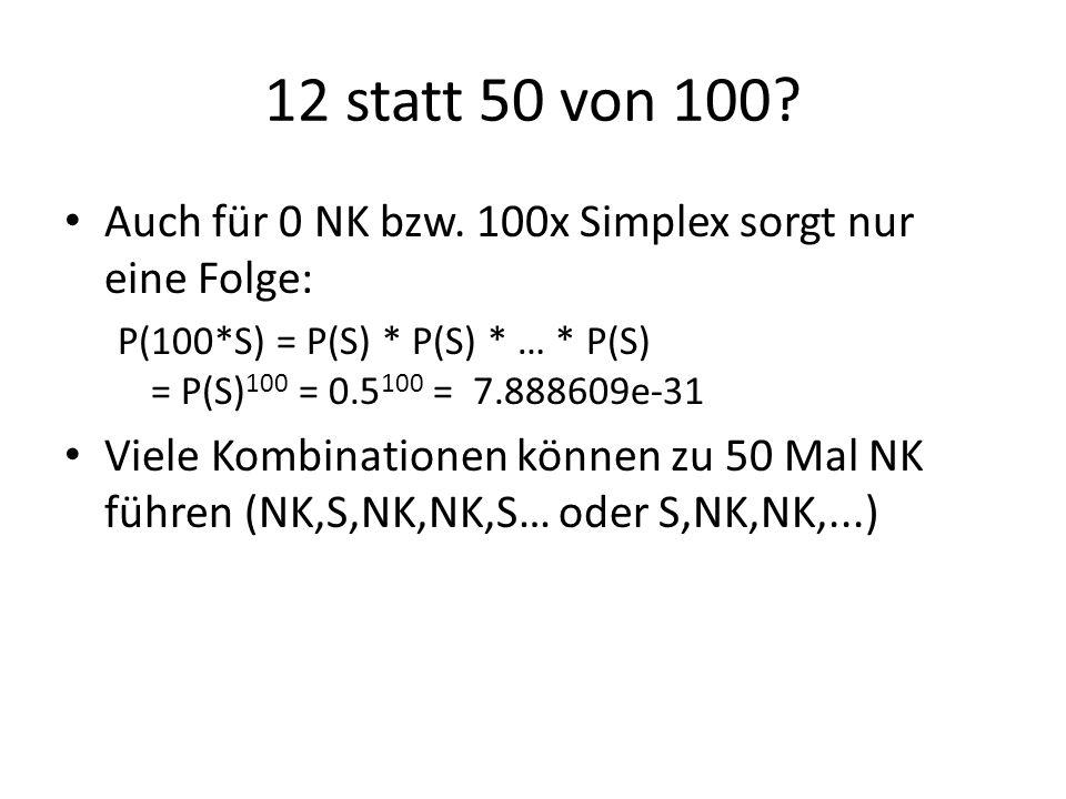 12 statt 50 von 100? Auch für 0 NK bzw. 100x Simplex sorgt nur eine Folge: P(100*S) = P(S) * P(S) * … * P(S) = P(S) 100 = 0.5 100 = 7.888609e-31 Viele