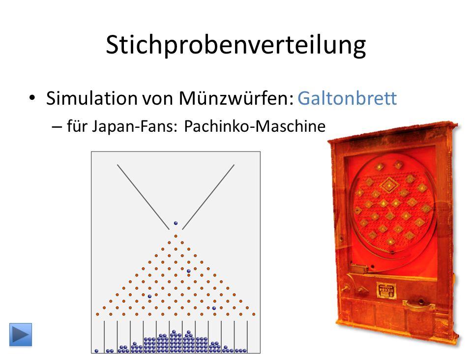 Stichprobenverteilung Simulation von Münzwürfen: Galtonbrett – für Japan-Fans: Pachinko-Maschine