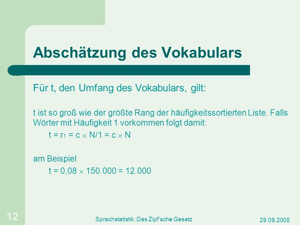 29.09.2005 Sprachstatistik: Das Zipf'sche Gesetz 12 Abschätzung des Vokabulars Für t, den Umfang des Vokabulars, gilt: t ist so groß wie der größte Ra