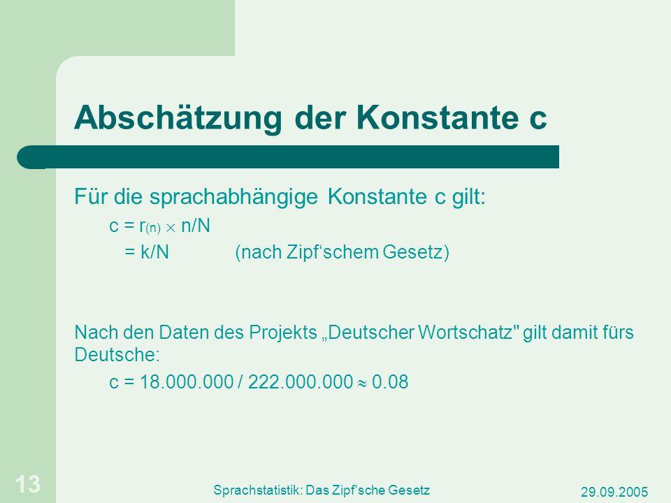 29.09.2005 Sprachstatistik: Das Zipf'sche Gesetz 13 Abschätzung der Konstante c Für die sprachabhängige Konstante c gilt: c = r (n) n/N = k/N(nach Zip