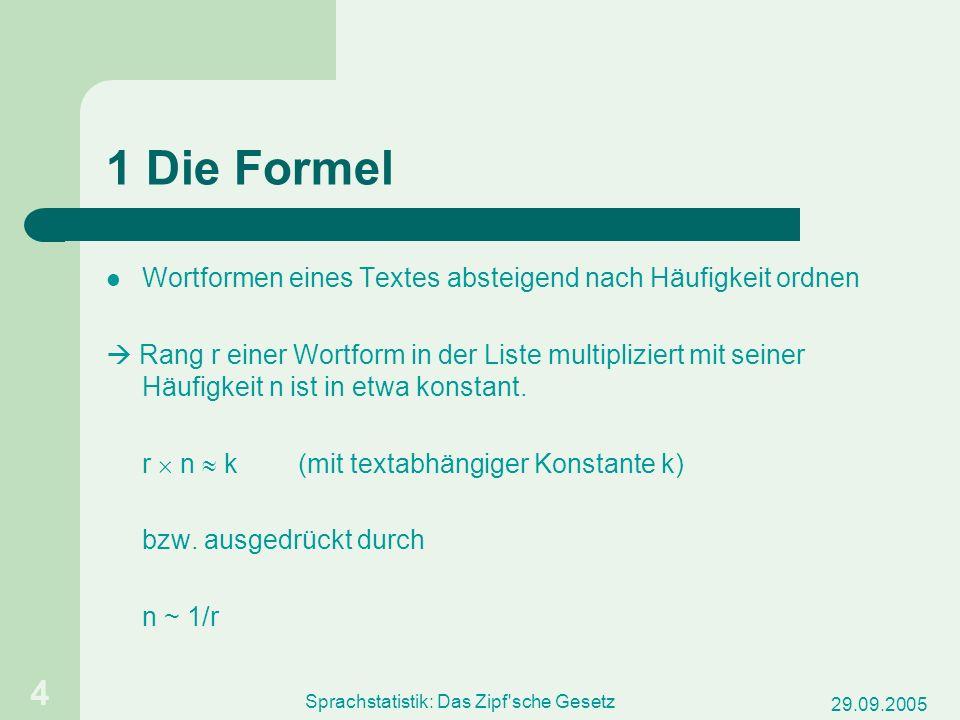 29.09.2005 Sprachstatistik: Das Zipf sche Gesetz 5 häufigkeitssortierte Liste