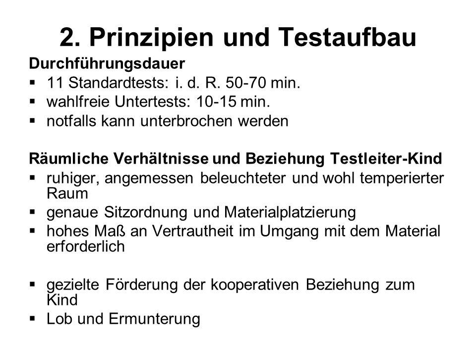 2. Prinzipien und Testaufbau Durchführungsdauer 11 Standardtests: i. d. R. 50-70 min. wahlfreie Untertests: 10-15 min. notfalls kann unterbrochen werd