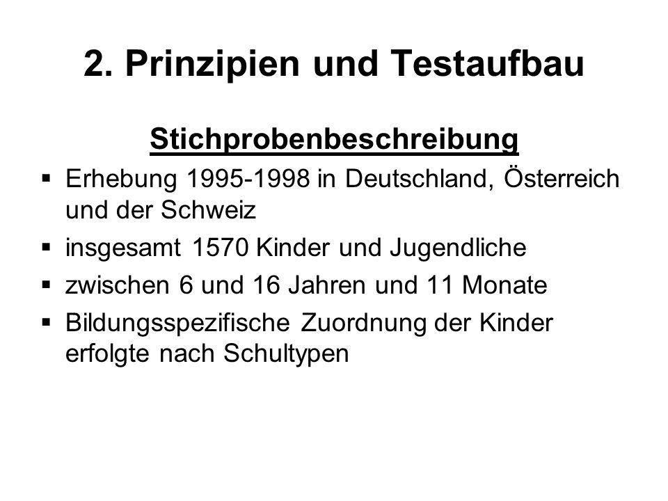 2. Prinzipien und Testaufbau Stichprobenbeschreibung Erhebung 1995-1998 in Deutschland, Österreich und der Schweiz insgesamt 1570 Kinder und Jugendlic