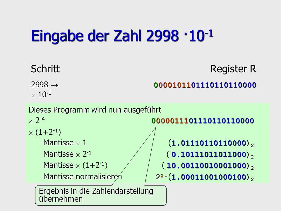 Eingabe der Zahl 2998 ·10 -1 Dieses Programm wird nun ausgeführt 0000011101110110110000 2 -4 0000011101110110110000 (1+2 -1 ) Mantisse 1.0111011011000
