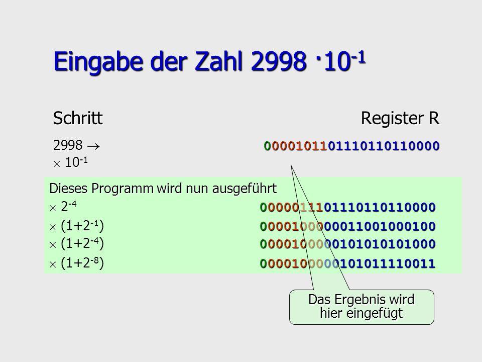 Dieses Programm wird nun ausgeführt 0000011101110110110000 2 -4 0000011101110110110000 0000100000011001000100 (1+2 -1 ) 0000100000011001000100 Eingabe