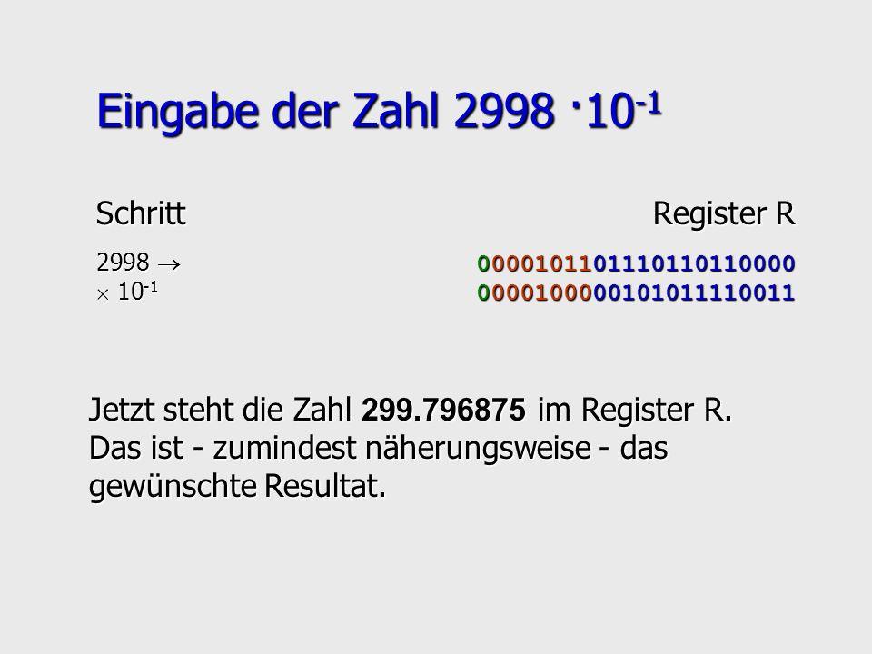 Eingabe der Zahl 2998 ·10 -1 SchrittRegister R 2998 0000101101110110110000 10 -1 0000100000101011110011 10 -1 0000100000101011110011 Jetzt steht die Z