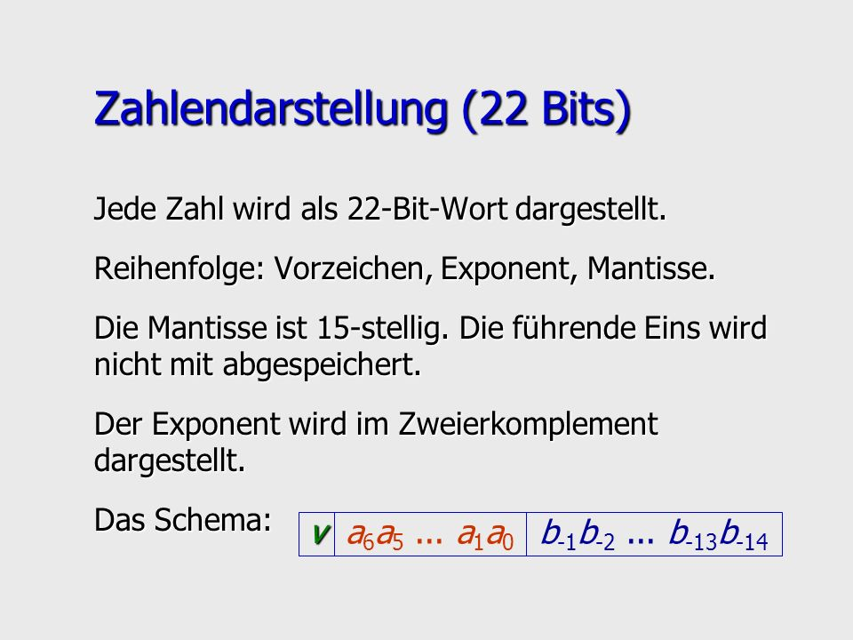v b -1 b -2... b -13 b -14 a 6 a 5... a 1 a 0 Zahlendarstellung (22 Bits) Jede Zahl wird als 22-Bit-Wort dargestellt. Reihenfolge: Vorzeichen, Exponen
