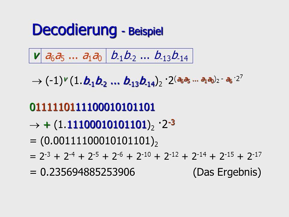 Decodierung - Beispiel (-1) v (1.b -1 b -2... b -13 b -14 ) 2 ·2 (a 6 a 5... a 1 a 0 ) 2 - a 6 ·2 7 v b -1 b -2... b -13 b -14 a 6 a 5... a 1 a 0 0111