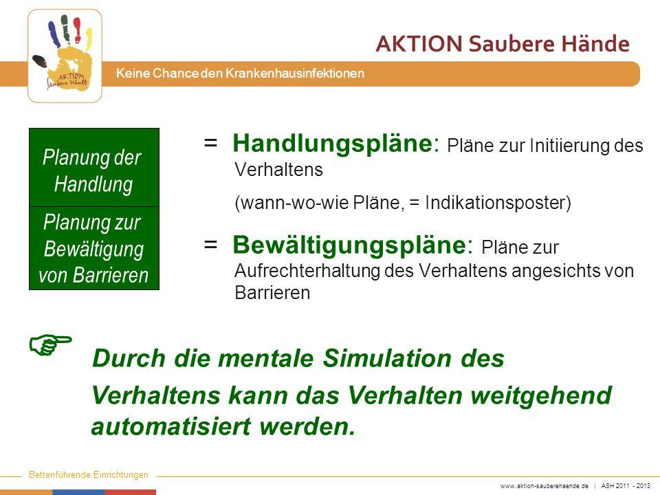 www.aktion-sauberehaende.de | ASH 2011 - 2013 Bettenführende Einrichtungen Keine Chance den Krankenhausinfektionen = Handlungspläne: Pläne zur Initiie