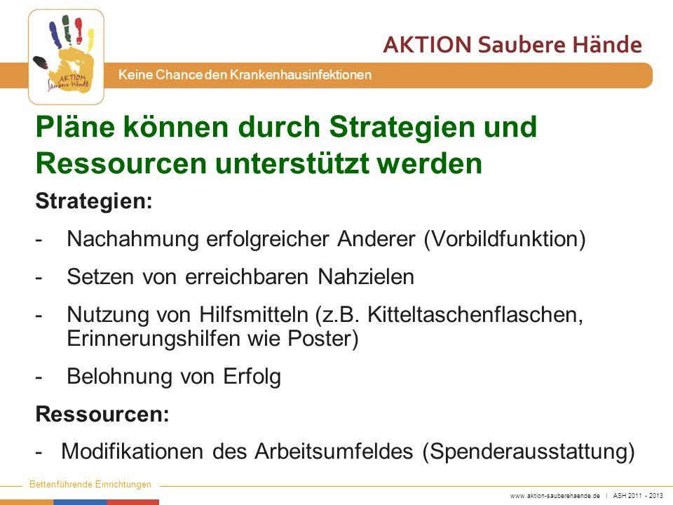 www.aktion-sauberehaende.de | ASH 2011 - 2013 Bettenführende Einrichtungen Keine Chance den Krankenhausinfektionen Pläne können durch Strategien und R