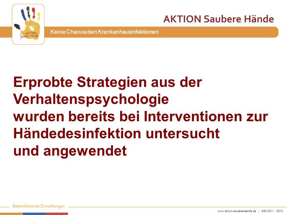 www.aktion-sauberehaende.de | ASH 2011 - 2013 Bettenführende Einrichtungen Keine Chance den Krankenhausinfektionen Erprobte Strategien aus der Verhalt