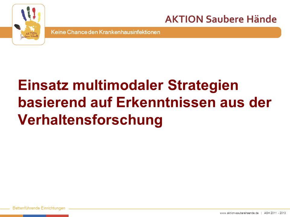 www.aktion-sauberehaende.de | ASH 2011 - 2013 Bettenführende Einrichtungen Keine Chance den Krankenhausinfektionen Einsatz multimodaler Strategien bas