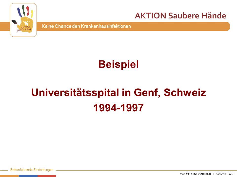 www.aktion-sauberehaende.de | ASH 2011 - 2013 Bettenführende Einrichtungen Keine Chance den Krankenhausinfektionen Beispiel Universitätsspital in Genf
