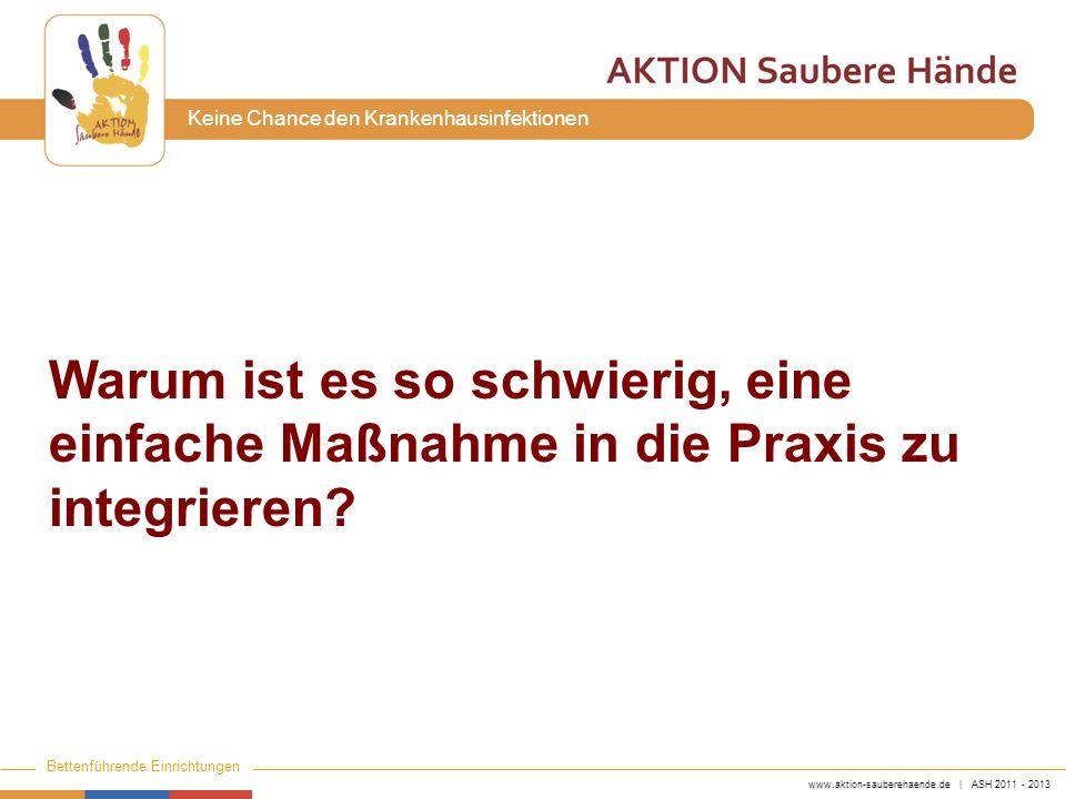 www.aktion-sauberehaende.de | ASH 2011 - 2013 Bettenführende Einrichtungen Keine Chance den Krankenhausinfektionen Warum ist es so schwierig, eine ein