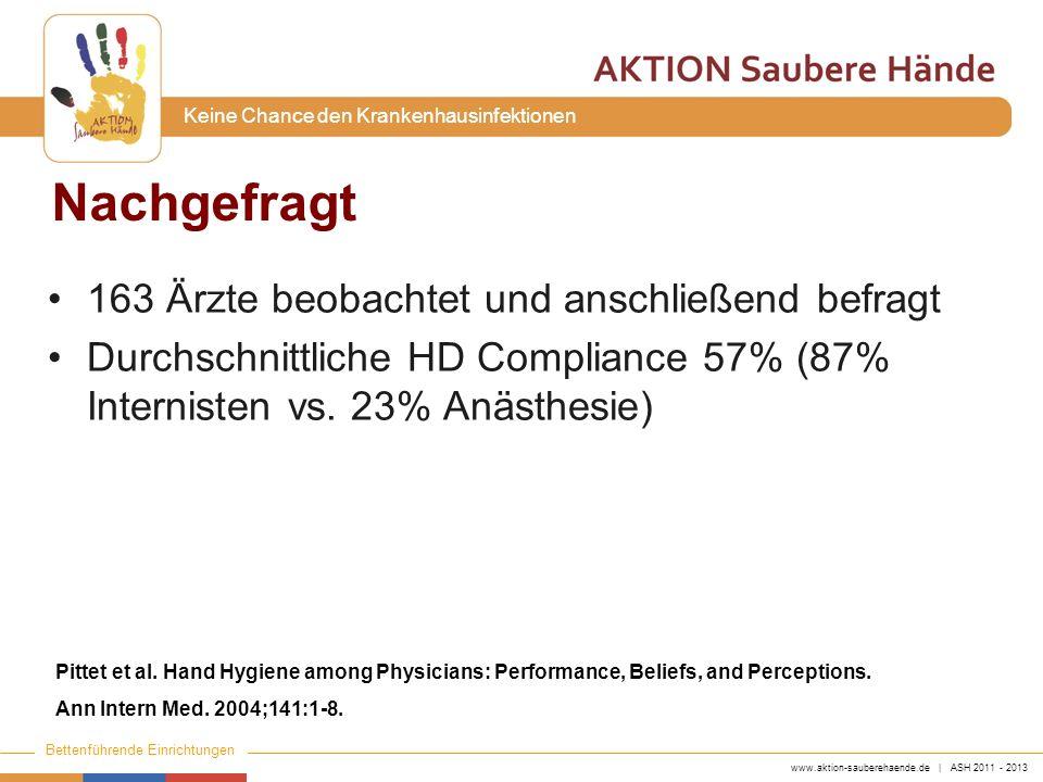 www.aktion-sauberehaende.de | ASH 2011 - 2013 Bettenführende Einrichtungen Keine Chance den Krankenhausinfektionen Nachgefragt 163 Ärzte beobachtet un