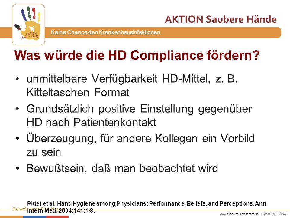 www.aktion-sauberehaende.de | ASH 2011 - 2013 Bettenführende Einrichtungen Keine Chance den Krankenhausinfektionen Was würde die HD Compliance fördern