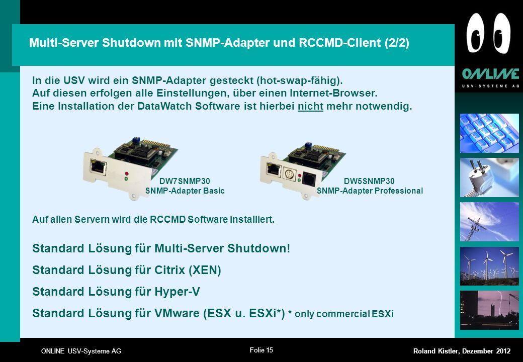 Folie 15 ONLINE USV-Systeme AG Roland Kistler, Dezember 2012 In die USV wird ein SNMP-Adapter gesteckt (hot-swap-fähig). Auf diesen erfolgen alle Eins