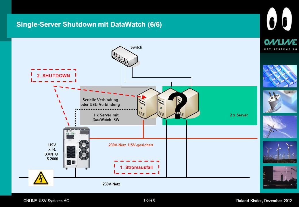 Folie 8 ONLINE USV-Systeme AG Roland Kistler, Dezember 2012 Single-Server Shutdown mit DataWatch (6/6) USV z. B. XANTO S 2000 Switch 230V-Netz USV-ges