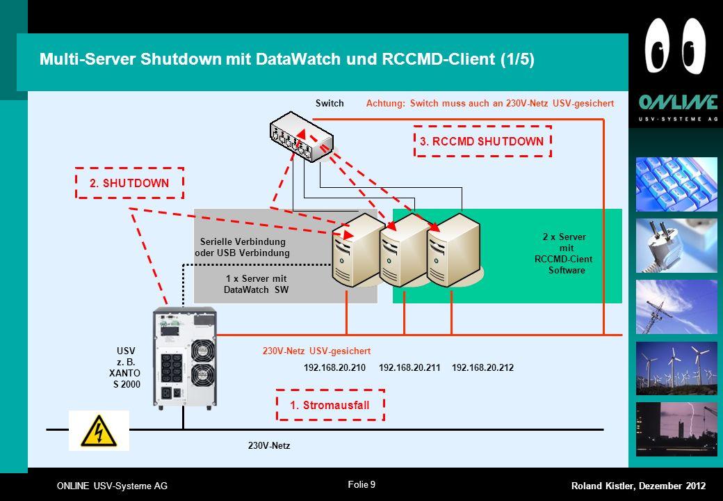 Folie 9 ONLINE USV-Systeme AG Roland Kistler, Dezember 2012 2 x Server mit RCCMD-Cient Software Multi-Server Shutdown mit DataWatch und RCCMD-Client (
