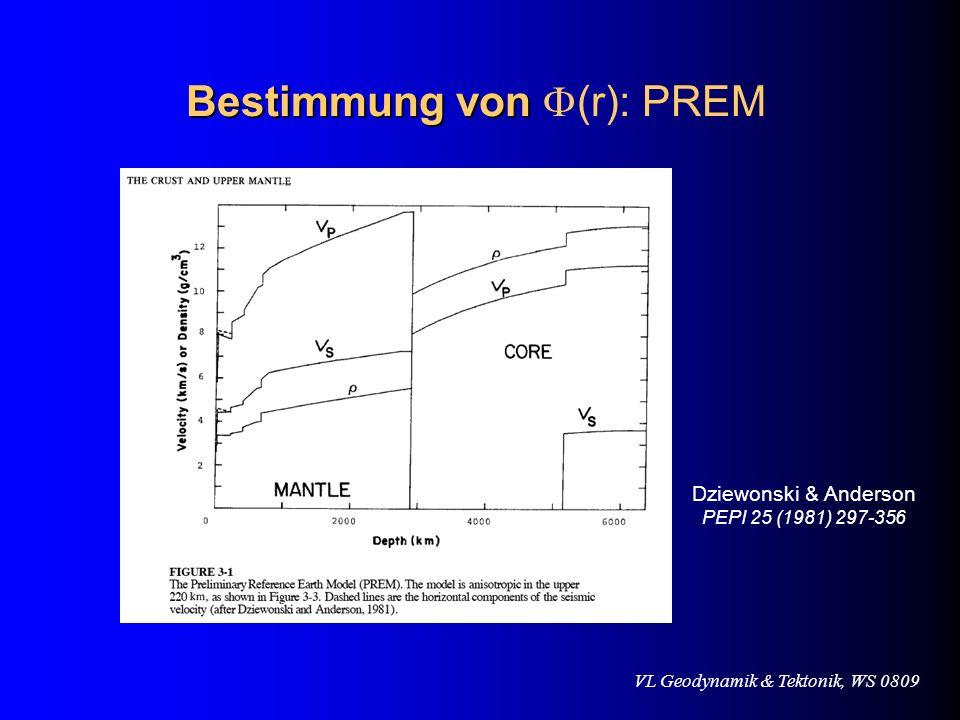 VL Geodynamik & Tektonik, WS 0809 Bestimmung von Bestimmung von (r): PREM Dziewonski & Anderson PEPI 25 (1981) 297-356