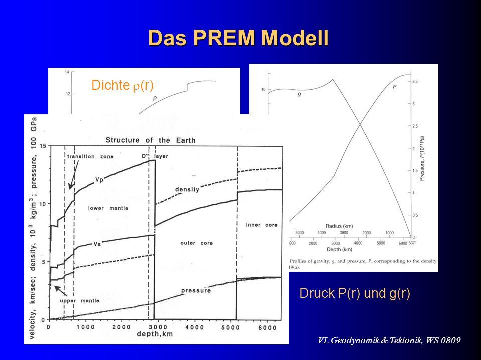 VL Geodynamik & Tektonik, WS 0809 Das PREM Modell Dichte (r) Druck P(r) und g(r)