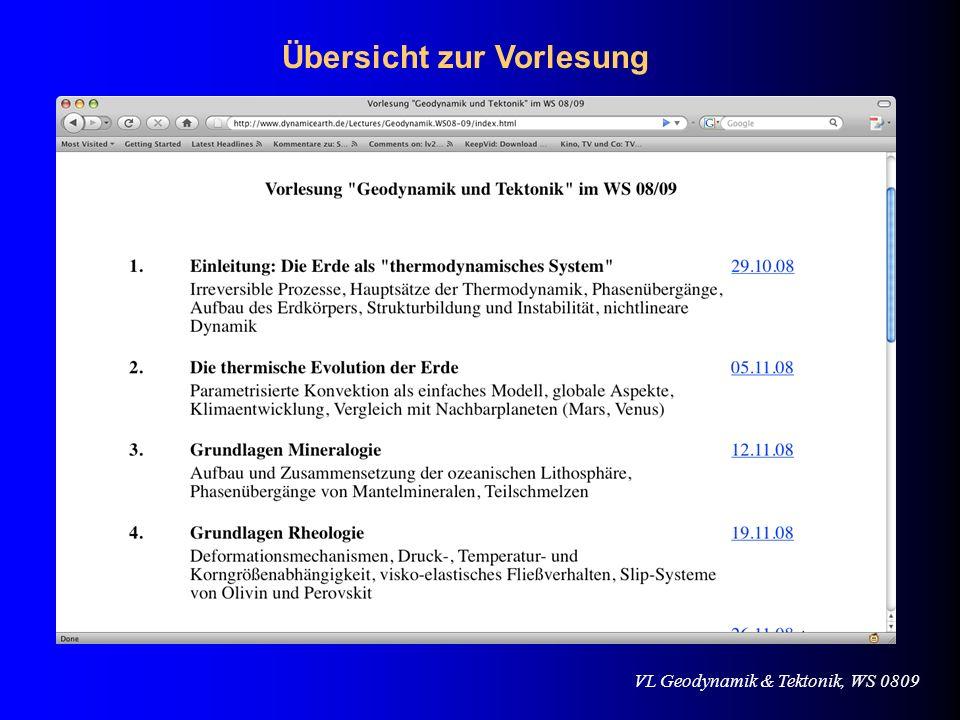 VL Geodynamik & Tektonik, WS 0809 Beginnen wir am Anfang..