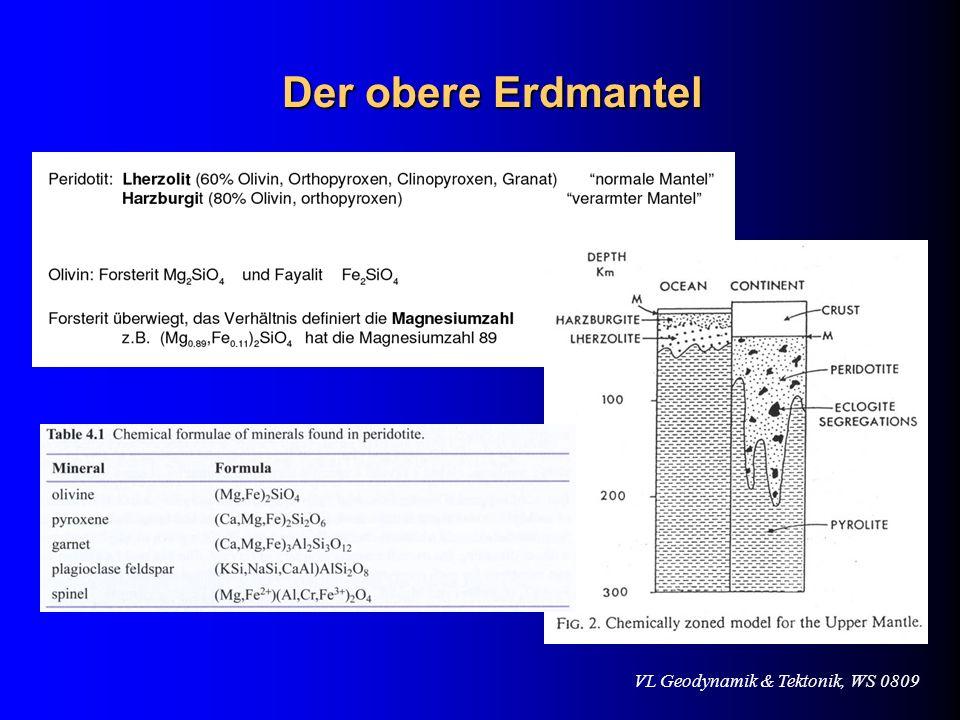 VL Geodynamik & Tektonik, WS 0809 Der obere Erdmantel