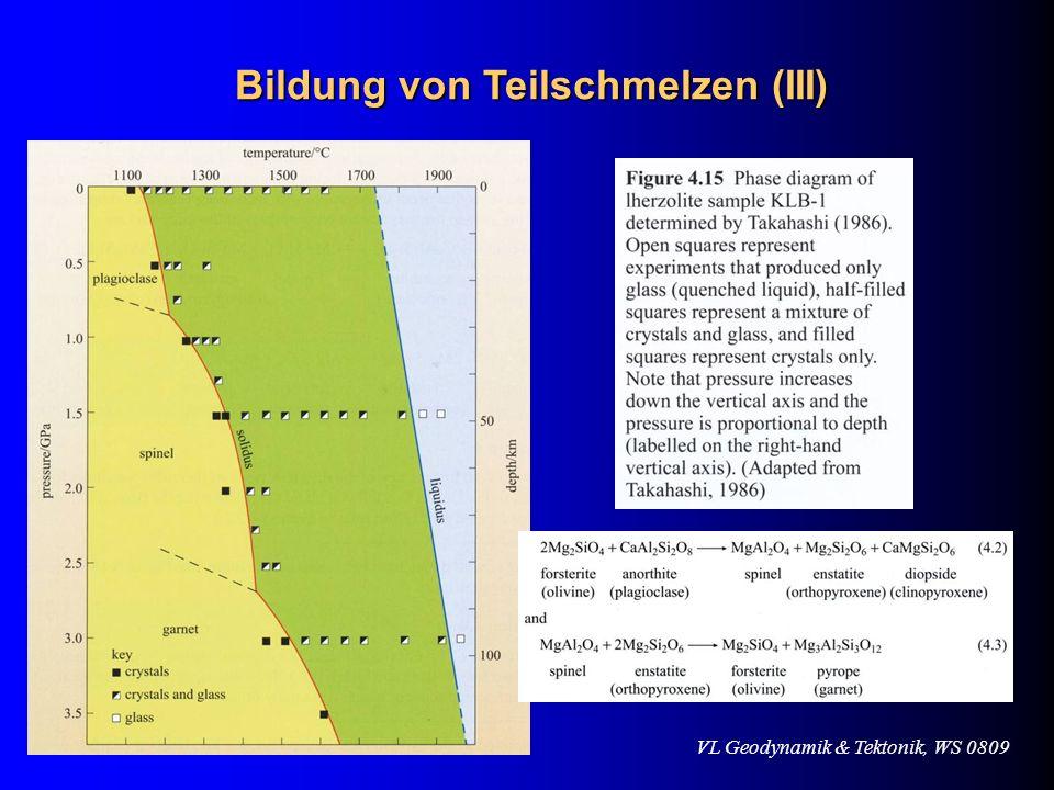 VL Geodynamik & Tektonik, WS 0809 Bildung von Teilschmelzen (III)