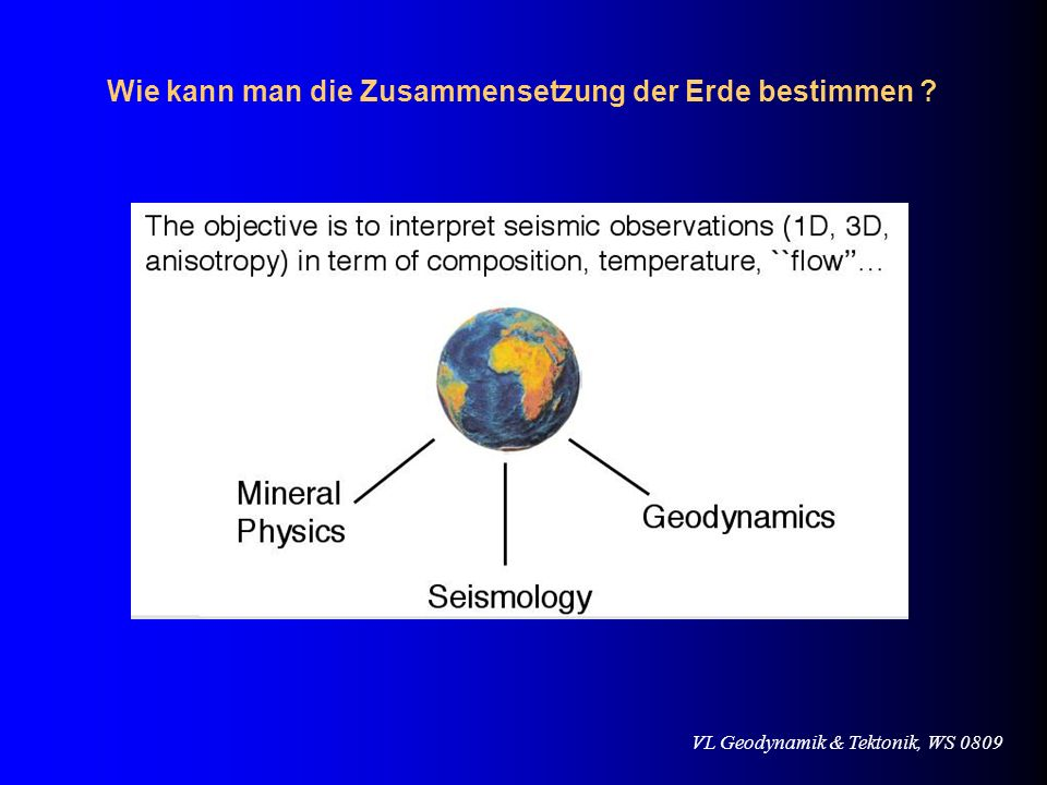 VL Geodynamik & Tektonik, WS 0809 Wie bestimmt man die Materialparameter im Erdinneren .