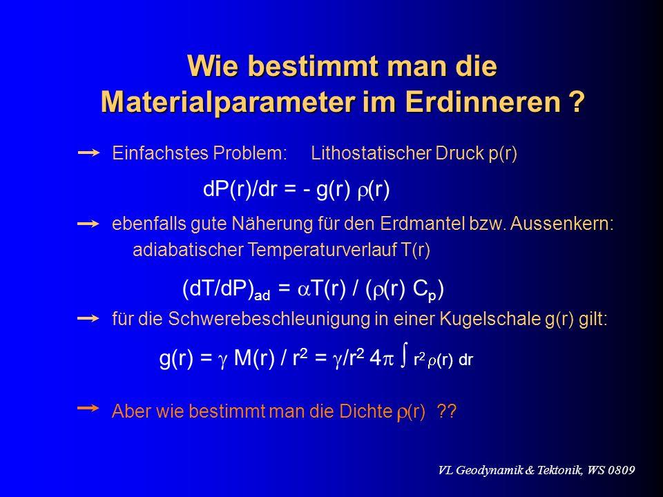 VL Geodynamik & Tektonik, WS 0809 dP(r)/dr = - g(r) (r) Einfachstes Problem: Lithostatischer Druck p(r) ebenfalls gute Näherung für den Erdmantel bzw.
