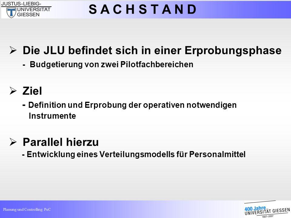 Planung und Controlling PuC Die JLU befindet sich in einer Erprobungsphase - Budgetierung von zwei Pilotfachbereichen Ziel - Definition und Erprobung