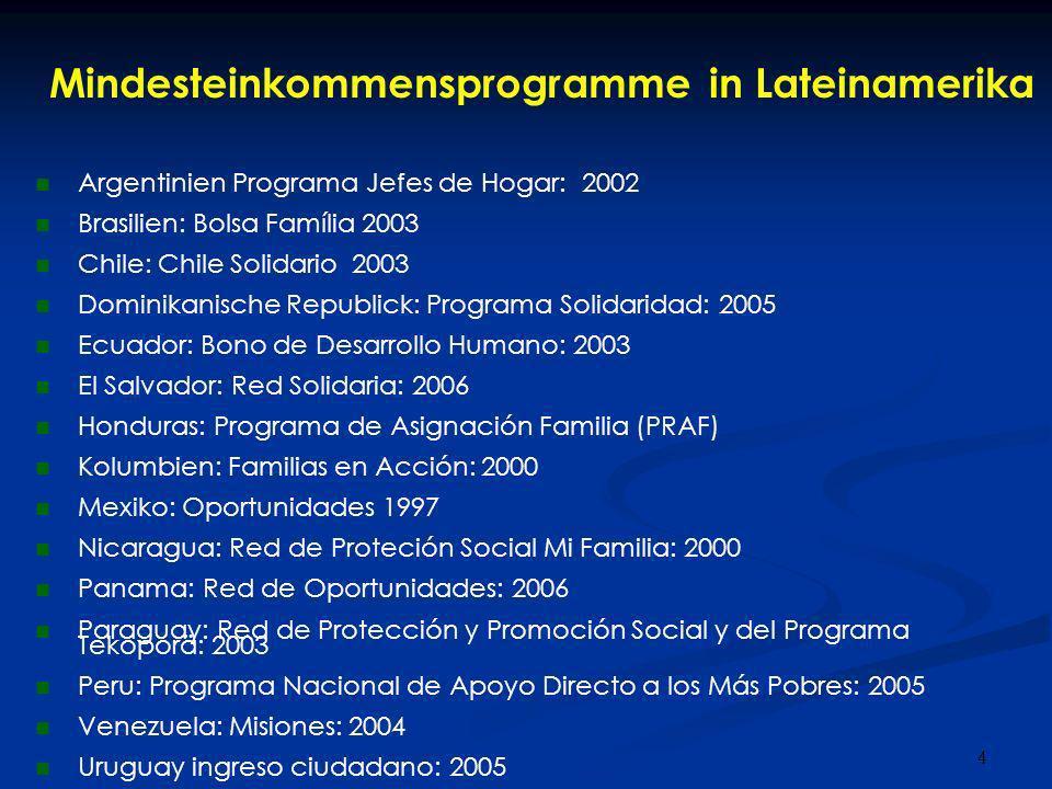 4 Mindesteinkommensprogramme in Lateinamerika Argentinien Programa Jefes de Hogar: 2002 Brasilien: Bolsa Família 2003 Chile: Chile Solidario 2003 Domi