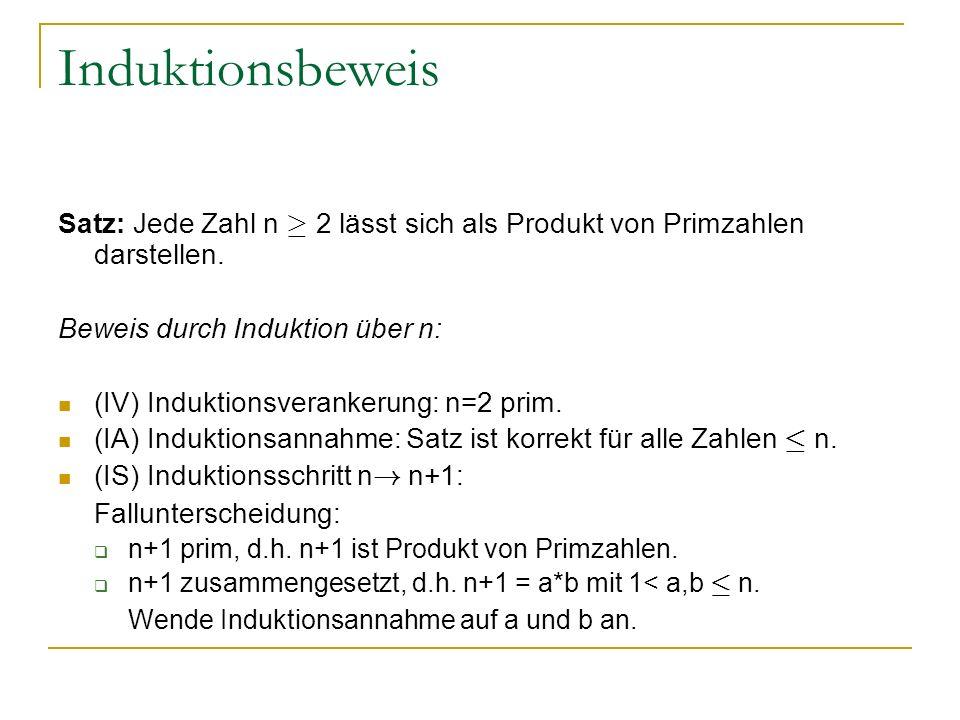 Induktionsbeweis Satz: Jede Zahl n ¸ 2 lässt sich als Produkt von Primzahlen darstellen. Beweis durch Induktion über n: (IV) Induktionsverankerung: n=