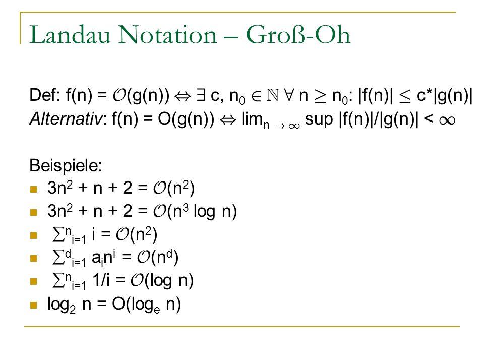 Landau Notation – Groß-Oh Def: f(n) = O (g(n)), 9 c, n 0 2 N 8 n ¸ n 0 : |f(n)| · c*|g(n)| Alternativ: f(n) = O(g(n)), lim n ! 1 sup |f(n)|/|g(n)| < 1
