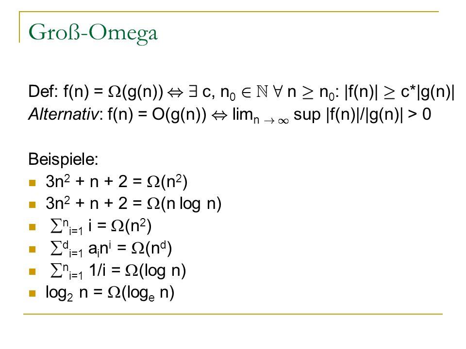 Groß-Omega Def: f(n) = (g(n)), 9 c, n 0 2 N 8 n ¸ n 0 : |f(n)| ¸ c*|g(n)| Alternativ: f(n) = O(g(n)), lim n ! 1 sup |f(n)|/|g(n)| > 0 Beispiele: 3n 2