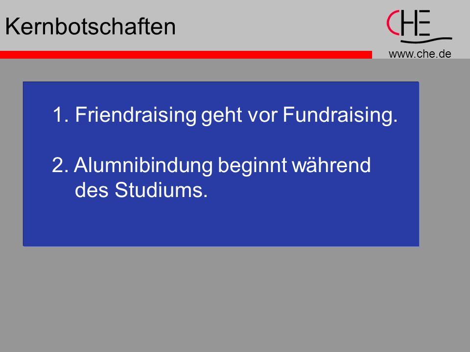 www.che.de 1. Friendraising geht vor Fundraising. 2. Alumnibindung beginnt während des Studiums. Kernbotschaften