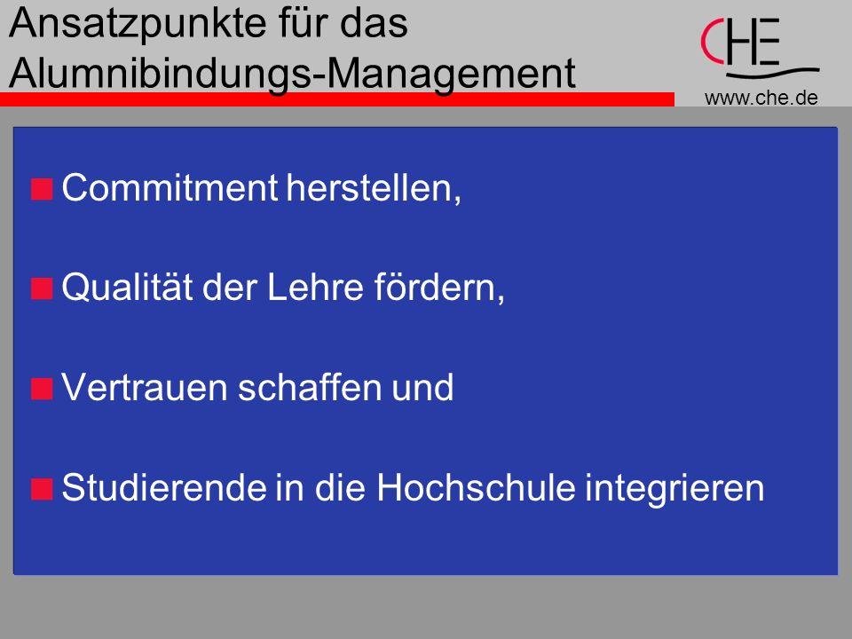 www.che.de Ansatzpunkte für das Alumnibindungs-Management Commitment herstellen, Qualität der Lehre fördern, Vertrauen schaffen und Studierende in die