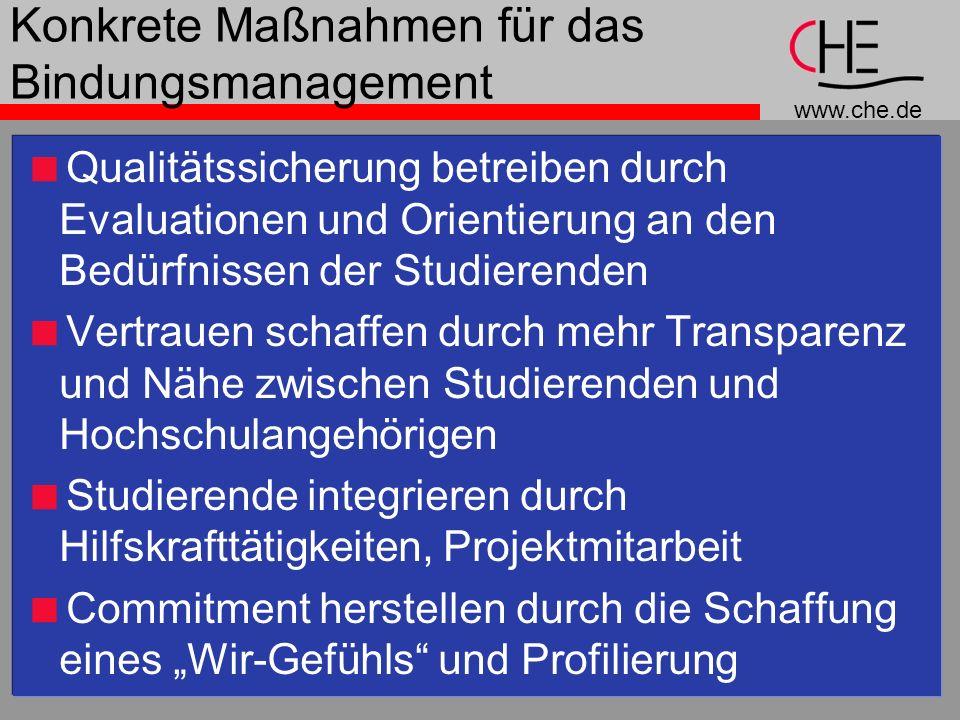 www.che.de Konkrete Maßnahmen für das Bindungsmanagement Qualitätssicherung betreiben durch Evaluationen und Orientierung an den Bedürfnissen der Stud
