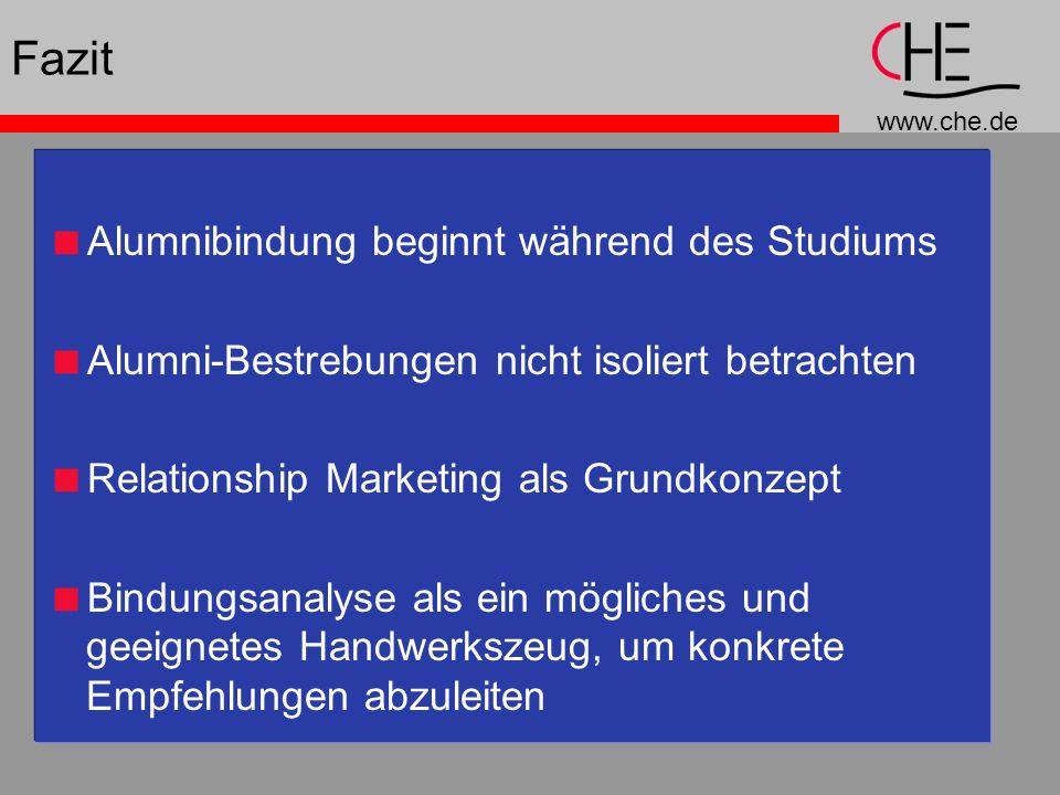 www.che.de Fazit Alumnibindung beginnt während des Studiums Alumni-Bestrebungen nicht isoliert betrachten Relationship Marketing als Grundkonzept Bind