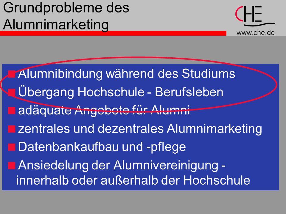www.che.de Grundprobleme des Alumnimarketing Alumnibindung während des Studiums Übergang Hochschule - Berufsleben adäquate Angebote für Alumni zentral