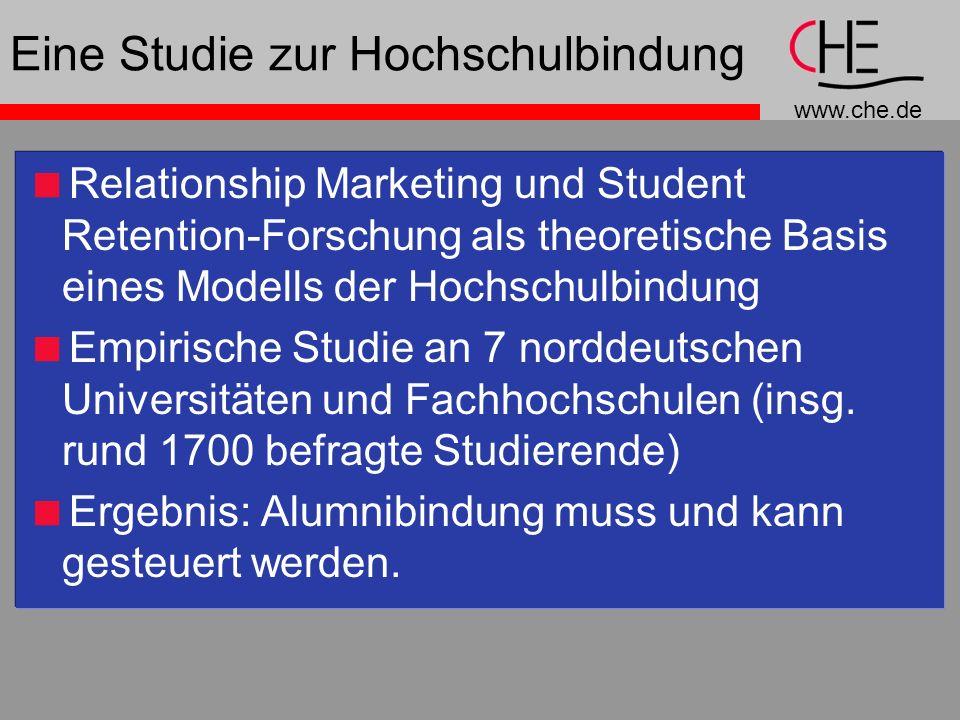 www.che.de Eine Studie zur Hochschulbindung Relationship Marketing und Student Retention-Forschung als theoretische Basis eines Modells der Hochschulbindung Empirische Studie an 7 norddeutschen Universitäten und Fachhochschulen (insg.