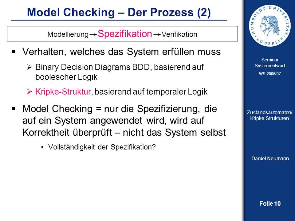 Folie 10 Seminar Systementwurf WS 2006/07 Zustandsautomaten/ Kripke-Strukturen Daniel Neumann Model Checking – Der Prozess (2) Verhalten, welches das