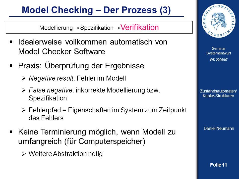 Folie 11 Seminar Systementwurf WS 2006/07 Zustandsautomaten/ Kripke-Strukturen Daniel Neumann Model Checking – Der Prozess (3) Idealerweise vollkommen