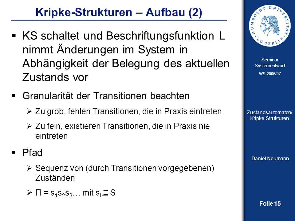 Folie 15 Seminar Systementwurf WS 2006/07 Zustandsautomaten/ Kripke-Strukturen Daniel Neumann Kripke-Strukturen – Aufbau (2) KS schaltet und Beschrift
