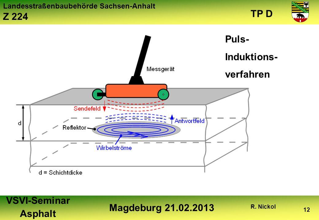 Landesstraßenbaubehörde Sachsen-Anhalt Z 224 TP D VSVI-Seminar Asphalt Magdeburg 21.02.2013 R. Nickol 12 Puls- Induktions- verfahren